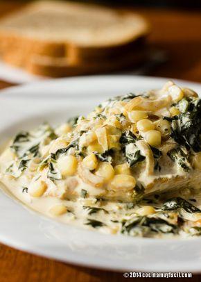 Receta de pollo en crema con espinacas y elote. Con fotografías, sugerencias y consejos de degustación. Recetas de pollo | cocinamuyfacil.com