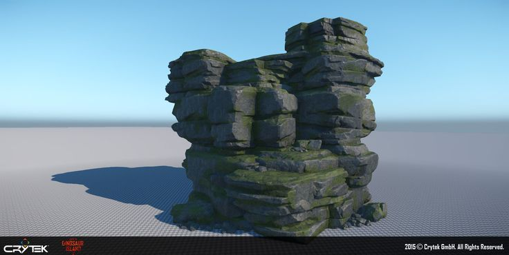 """The following images are from a VR demo that Crytek showed at E3 2015. The demo was titled """"Back to Dinosaur Island 2"""". I was responsible for most of the rocks seen in the demo including the cliff that the player is scaling, and the surrounding mid distance cliff assets."""