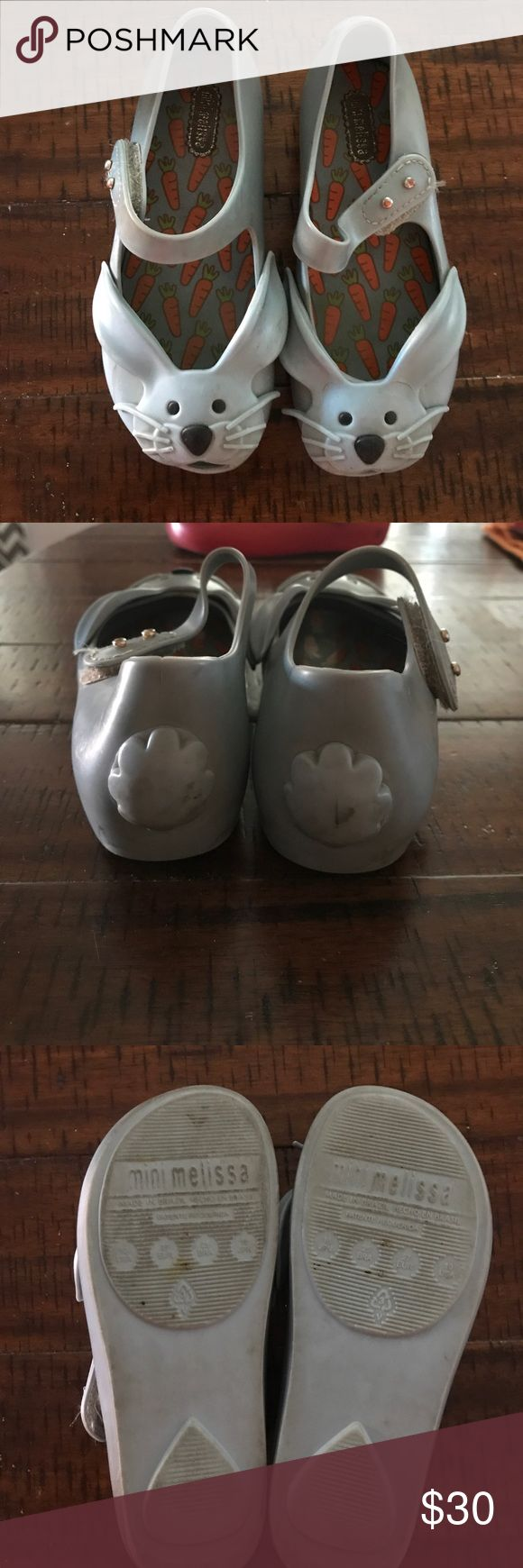 Mini Melissa size 10 toddler. Gray bunnies Gray bunnies mini Melissa shoes. Used condition, visible wear but no major damage. Some lines from wear near the bunny ears. And a little dirty but have tons of life left! Velcro is still good, inside is fairly clean. Mini Melissa Shoes Baby & Walker