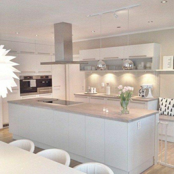 Wohnen pandabären insel tisch inselküche küche und esszimmer küchen design ideen für die küche graue feature wand nordischer stil