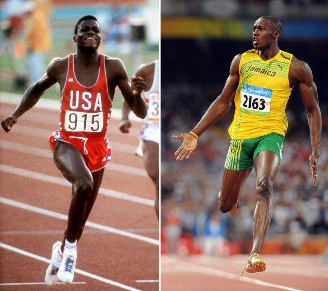 Carl Lewis à gauche aux JO 1984 de Los Angeles, Usain Bolt à droite aux JO 2008…