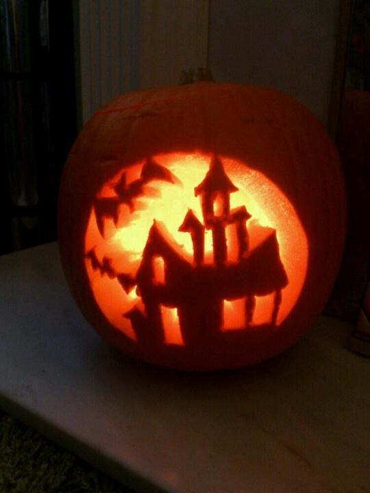Haunted house carved pumpkin pumpkins pinterest