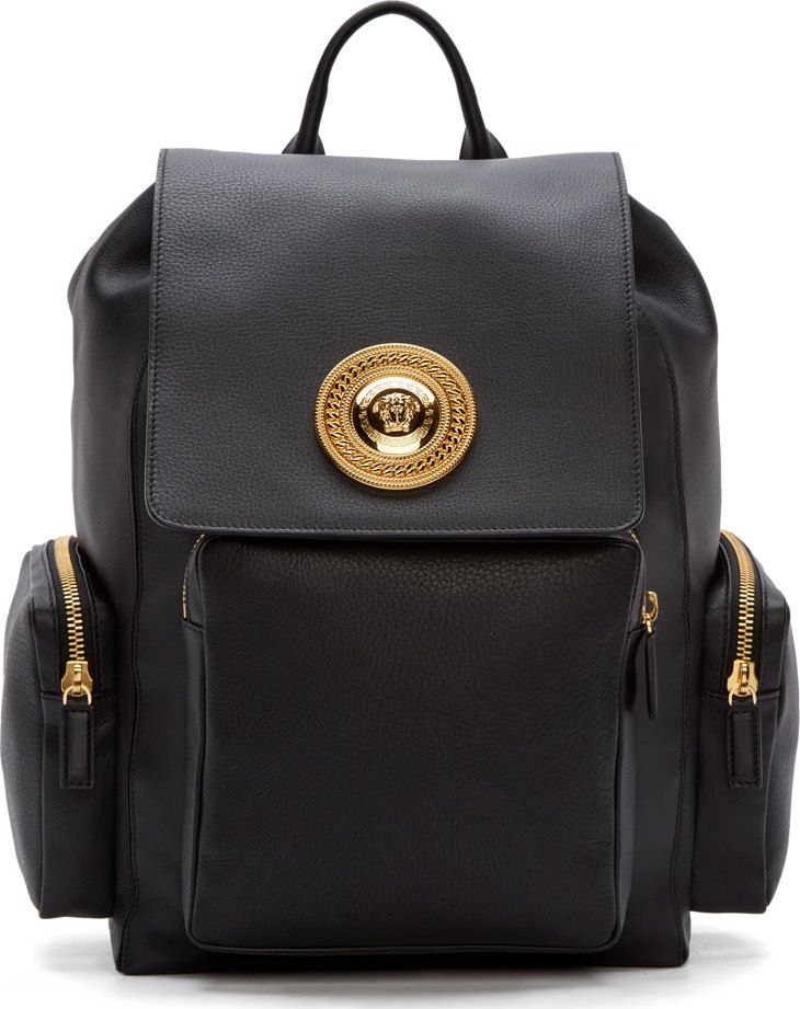 dbd09c6c2e Versace Black Leather Medusa Backpack