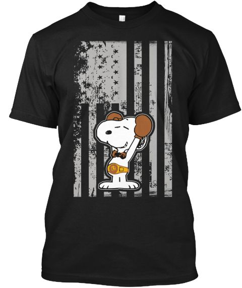 American Boxer T Shirt , Snoopy Shirt Black T-Shirt Front