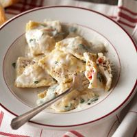 Crab Ravioli Filling - I made this last night for V-day and it was great. It doesn't look like a lot of filling but it goes a long way.