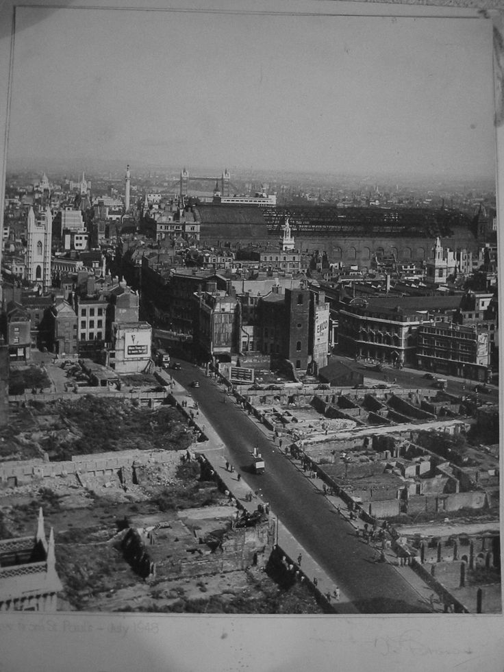 The City of London, July 1948 (taken from the top of St Paul's looking East) This image shows the now demolished barrel roof of Cannon Street station train shed (centre), the Monument and Tower Bridge.