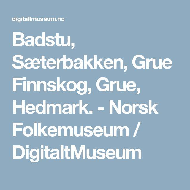 Badstu, Sæterbakken, Grue Finnskog, Grue, Hedmark. -                 Norsk Folkemuseum /          DigitaltMuseum