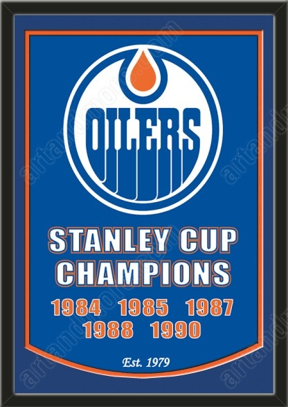 This framed Edmonton Oilers dynasty banner, double matted in team colors to 26 x 38 inches. $229.99 @ ArtandMore.com