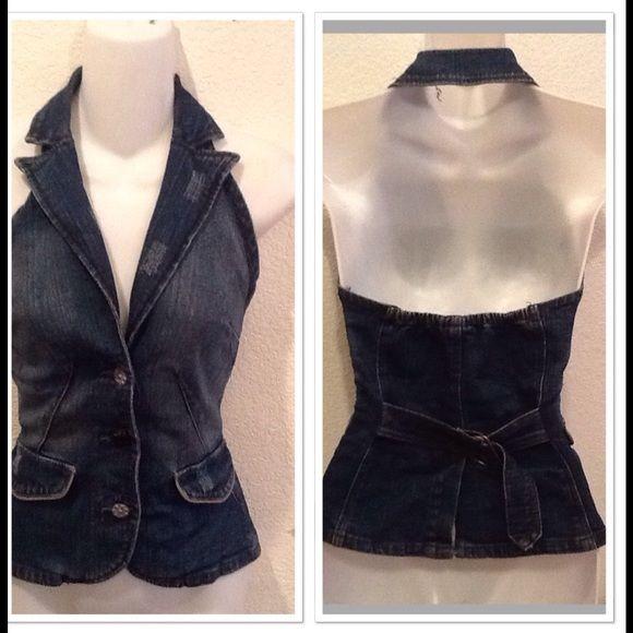 Cute Jean Vest Blue jean vest, back open, you can adjust the waist size . Really cute size XS Jeans