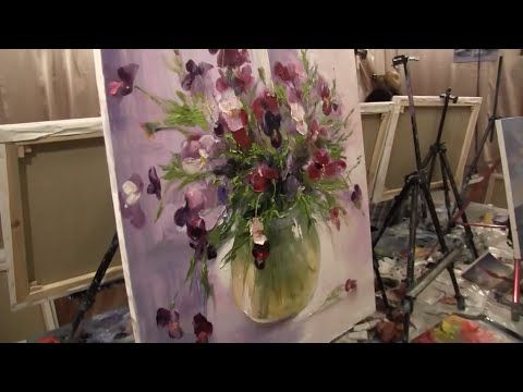 How to draw cityscape fast and easy. Alla prima. Paint with palette knife, brush and oils - YouTube