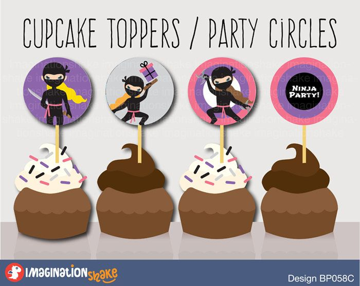 Ninja Birthday Party Cupcake Toppers Party Circles PRINTABLE / Party Printables / Black Pink Ninjas Decorations Girl Birthday Printables Set - pinned by pin4etsy.com