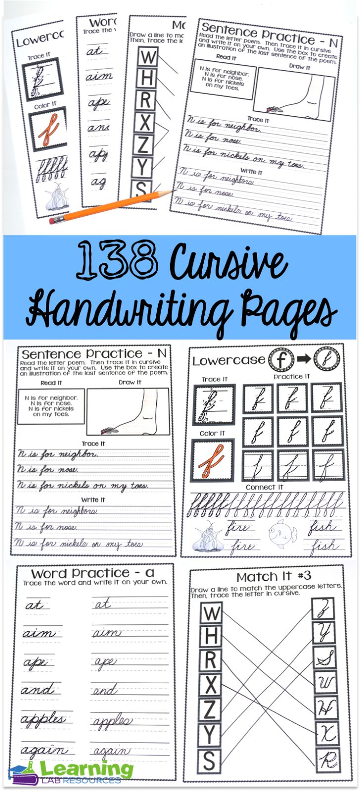 Cursive Handwriting Practice Pages. 138 pages of interactive instruction to help form individual letters, words, and sentences!