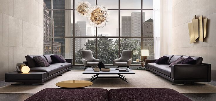 Mondrian sofa in removable leather Soft 10 prugna, cushions Persia 2006 prugna and Olimpia 112 prugna, integrated table in black elm.