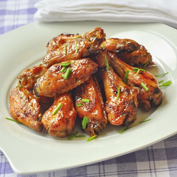 Dijon Brown Sugar Glazed Wings - Baked chicken wings with a super easy sticky brown sugar and dijon glaze. Great, easy game day food.