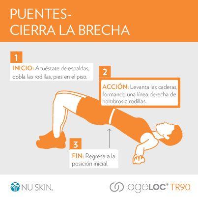 El puente es un ejercicio que fortalece los músculos de los glúteos, los abdominales y los músculos más bajos de la espalda. #TR90