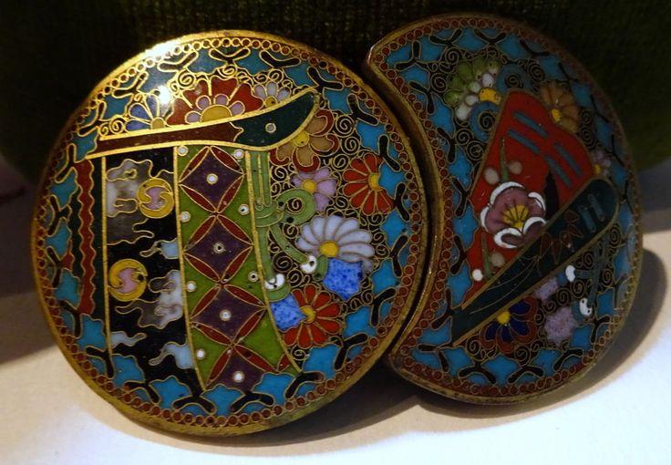 Superb Quality Japanese Cloisonne Enamel Buckle Meiji Period Antique