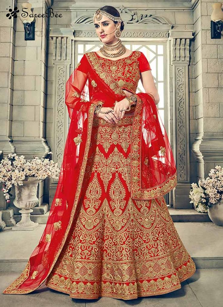 Excellent Art Silk Red Lehenga Choli  This pretty piece is a fairy tale that begins to unfold as you reveal your beauty in it. Be the center of attraction with this red art silk lehenga choli. It is uniquely crafted with embroidered, patch border, resham and zari work. Comes with matching choli and dupatta.
