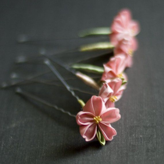 Pretty in Pink Sakura Kanzashi Hairpins - Set of 5 $40