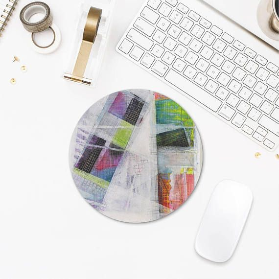 Abstract Art Round Mousepad Multicolor Mouse Mat White Mouse
