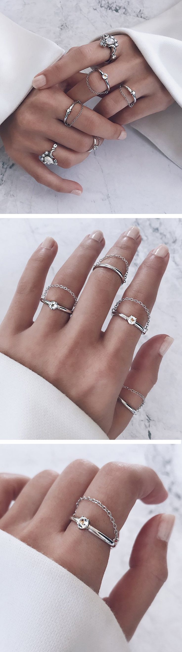 sparkly diamond ring on a classic thin band and fine chain that drapes across the finger - wear with long white sleeves or shirt - modern, beautiful minimal silver ring for those who love minimalist jewelry. Great as gifts for mum, sister, wife, birthday and valentine.