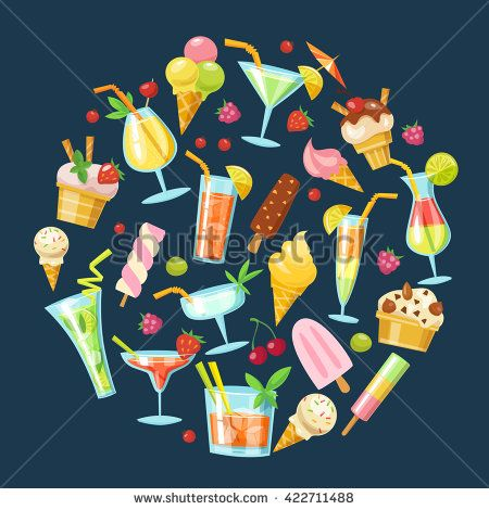 Set of vector cocktails and ice cream icons . Flat style summer food and drink icons. Round shape.