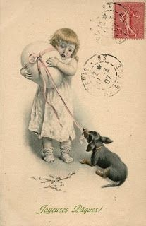 View from the Birdhouse: Dear Abby - Vintage Easter Cards with Dogs