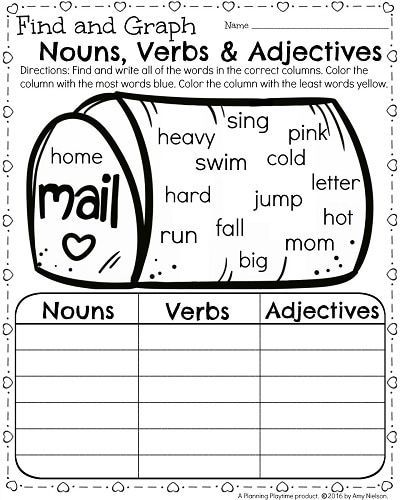 1st Grade Parts of Speech Worksheet for February - Parts of Speach Nouns, Verbs and Adjectives