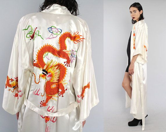 Vtg White Satin Asian Japanese Embroidered Dragons Kimono Floor Length Duster…
