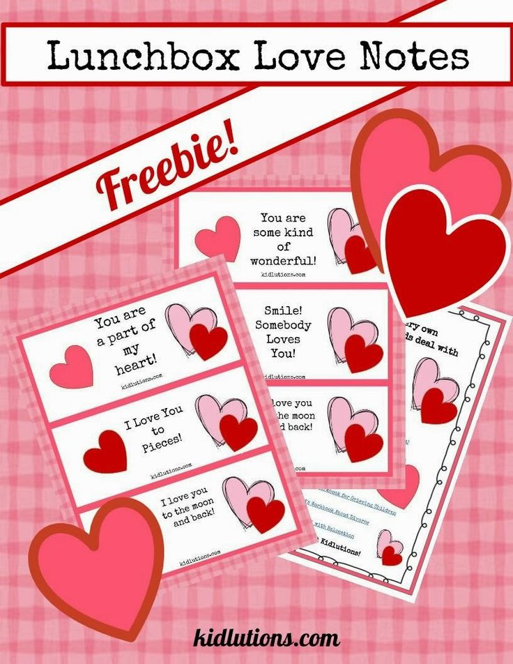 You can never tell your children you love them too much! #Freebie: Lunchbox Love Notes. #Valentine's Day is right around the corner.