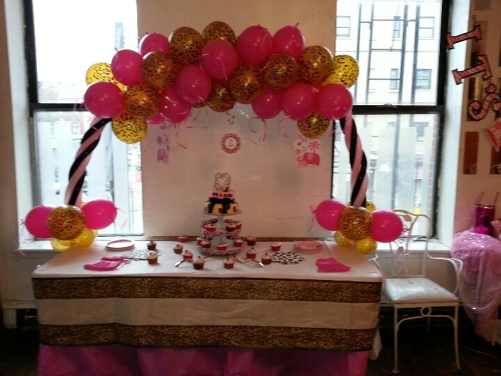 Baby Shower With Leopard Designs Cake Table Set Up