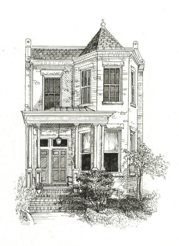 ZollhausPorträtFeder in 2020 Häuser zeichnen
