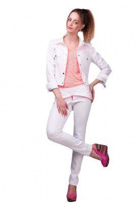 Узкие белые брюки с отворотом и розовой молнией Lilo
