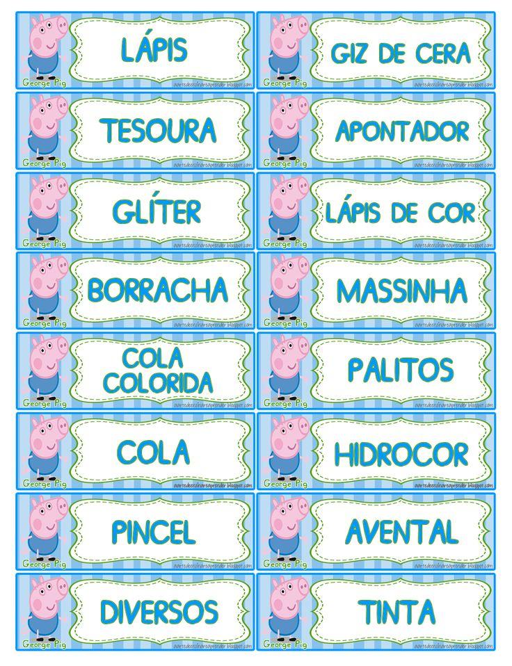 Etiquetas para organizar e identificar o material escolar - Peppa Pig e George Pig   Clique sobre a imagem e salve em tamanho original   ...