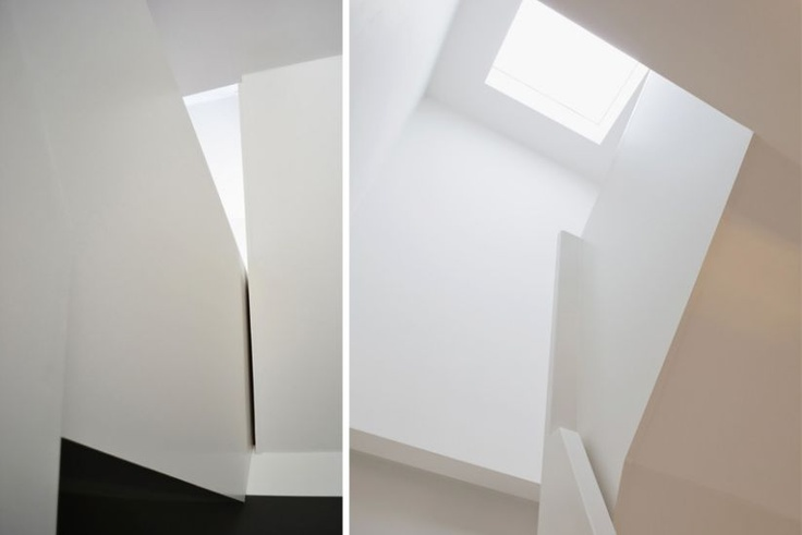 white staircase and lightwell  niche house milford-martin design