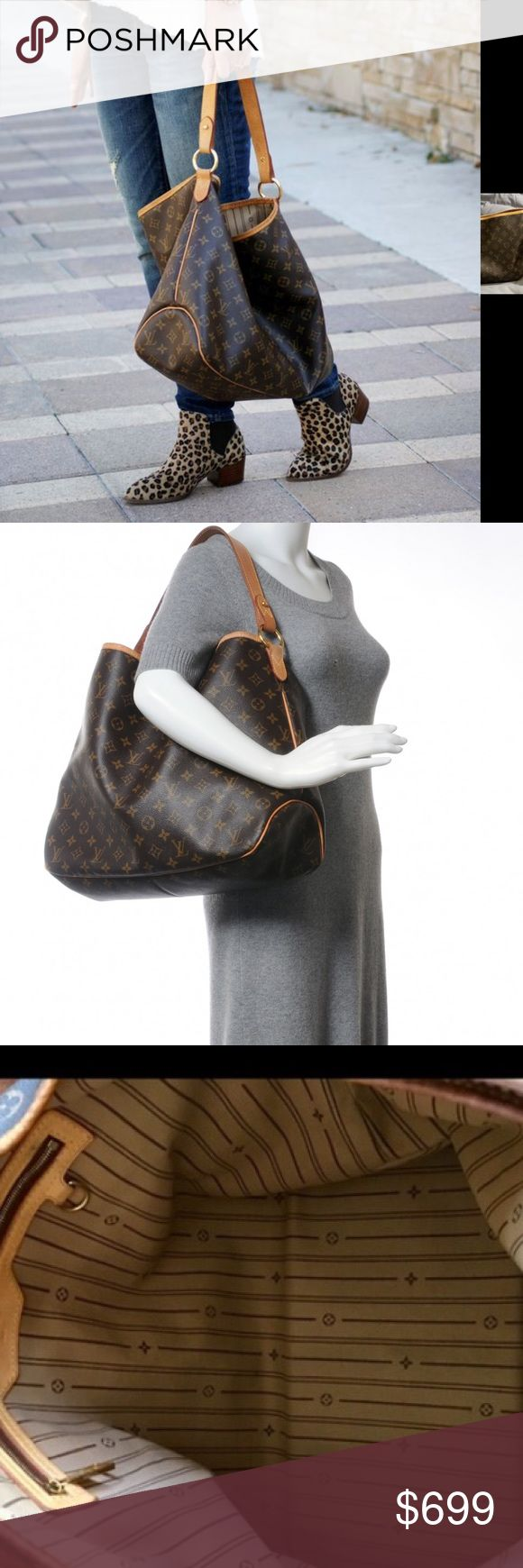 """100% Authentic Louis Vuitton delightful mm authentic LOUIS VUITTON Monogram Delightful MM with RECEIPT.mThis stylish shoulder bag is finely crafted of classic Louis Vuitton monogram on toile canvas in the medium size. The bag features a looping vachetta cowhide leather shoulder strap, trim, and polished brass hardware. The top is open to a striped fabric interior with a zipper pocket. This is a marvelous shoulder bag that is ideal for day, from Louis Vuitton! Length: 18"""", Height: 13"""", Depth…"""
