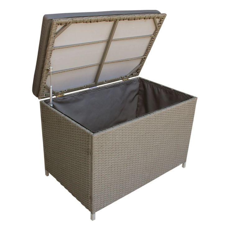 Ferrara Grey Wicker 80 Gal. Deck Box (Ash grey, Grey), Gray(Fabric) – Garden F… – Garden Deck Inspiration