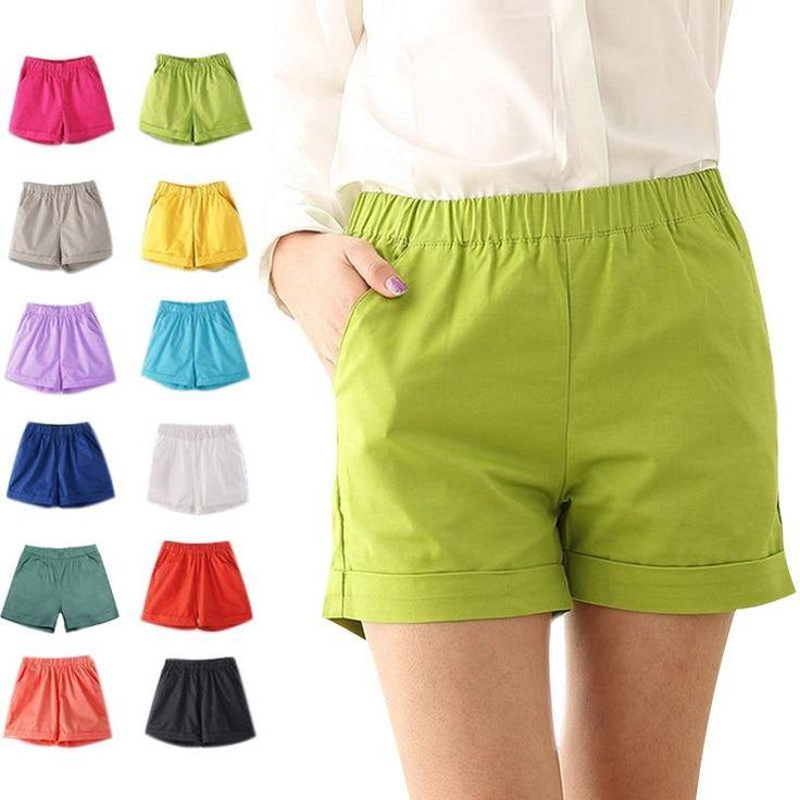 Sommer-Frauen-Baumwollshorts beiläufige elastische Taillen-Süßigkeit-Normallack-kurze Hosen GDD99   – Products