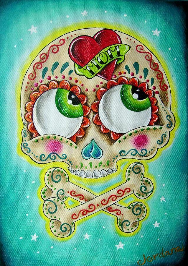 sugar skull pictures artwork   Sugar Skull Painting by Jordana Hawen - Tattooed Sugar Skull Fine Art ...