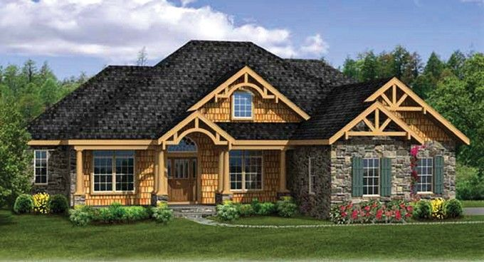 Craftsman house plan with 3248 square feet and 4 bedrooms for Craftsman house plans one story with basement