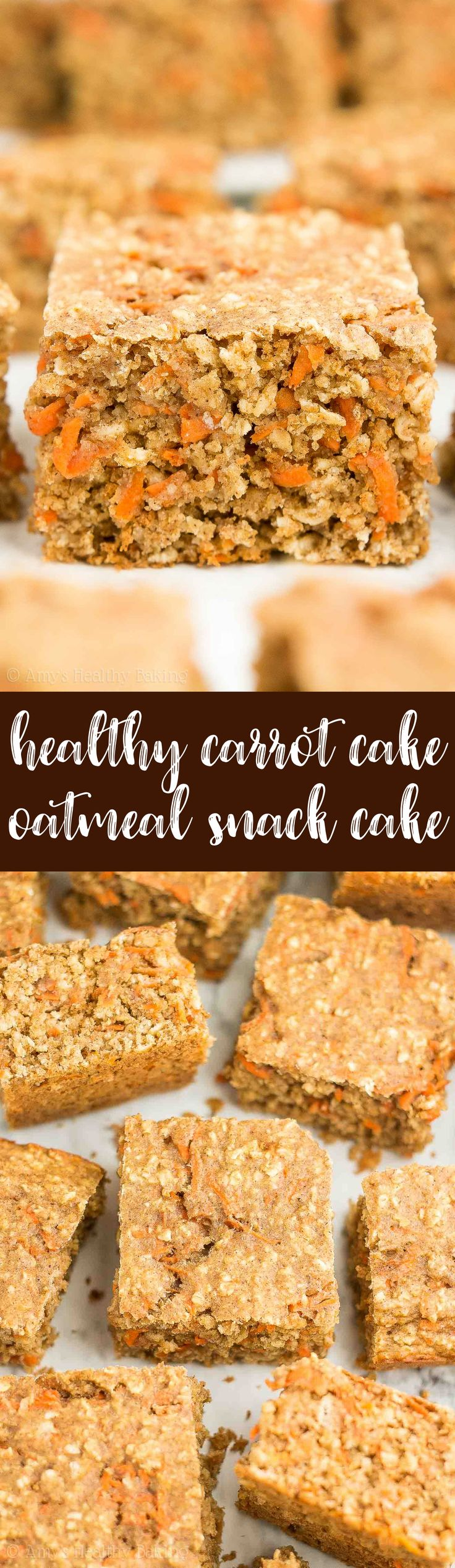 Healthy Carrot Cake Oatmeal Snack Cake! Only 100 calories & SO easy to make! It really does taste like carrot cake -- I'm OBSESSED! And my picky family gave it 2 thumbs up! | easy snack cake | healthy snack cake | carrot snack cake | healthy clean eating snack cake