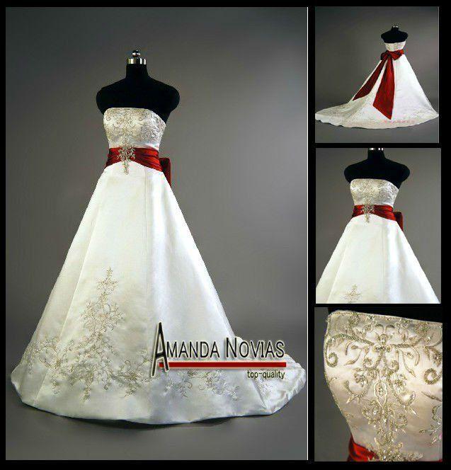 2012 de raso bordado de color rojo y blanco de la boda for Red and white wedding dresses 2012