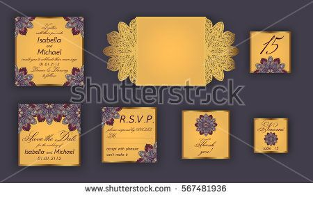 Vintage wedding invitation design set include Invitation card, Save the date, RSVP card, Thank you card, Table number, Place cards, Paper lace envelope. Wedding invitation mock-up for laser cutting.