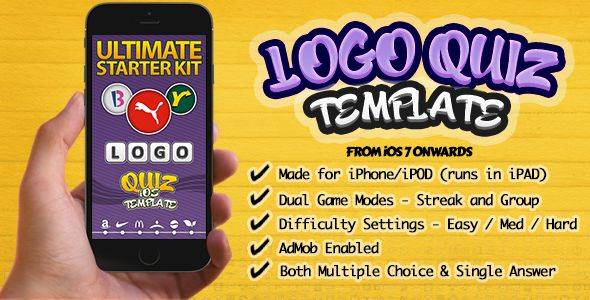 Ultimate Logo Quiz Starter Kit for iPhone-iOS . Logo Quiz is an iOS game application based on quiz. This code project lets you to create different logo and picture quiz games. You can create games like Soccer Logos Quiz, Brand Logos Quiz, Pic Quiz for Kids, and