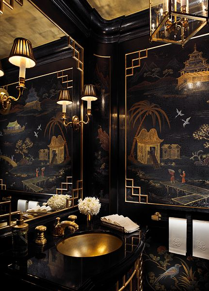 Black & gold chinoiserie powder room. Scott Snyder Inc