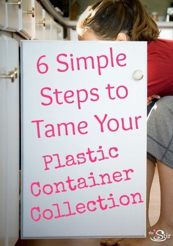 Every mom needs to pin this! 6 Simple Tips for Dealing With Plastic Food Containers Chaos http://thestir.cafemom.com/food_party/167675/6_simple_tips_for_dealing?utm_medium=sm&utm_source=pinterest&utm_content=thestirs