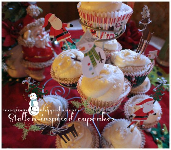Vintage Christmas cupcakes: stollen-inspired cake made with marzipan & topped wi…