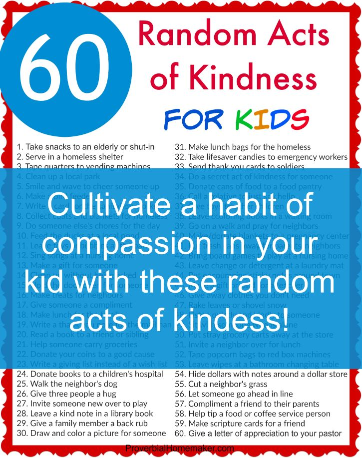 Teach your kids to be kind and compassionate with these 60 Random Acts of Kindness for Kids  - FREE DOWNLOAD!