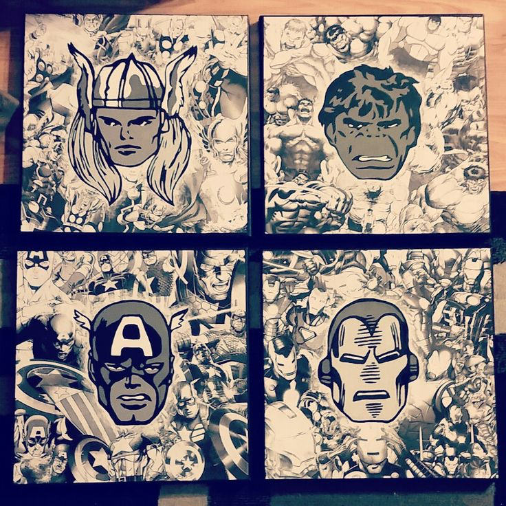 Marvel Avengers collage 4 piece Handcut paper and acrylic on stretched canvas 12x12  2015 Loveandtheart - Nicole Ducharme  www.facebook.com/loveandtheart
