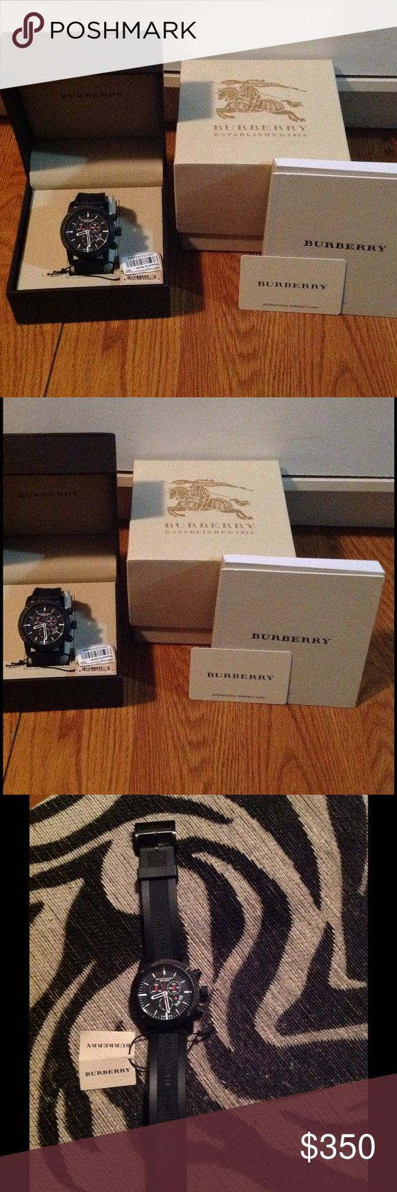 Burberry Men's Watch New in box worn only once. Comes with box, tags, instructional manual and warranty card. Only needs a battery. Chronograph men's watch 45 millimeters, stainless steel with rubber band. Water resistant depth 330 feet. Burberry Accessories Watches