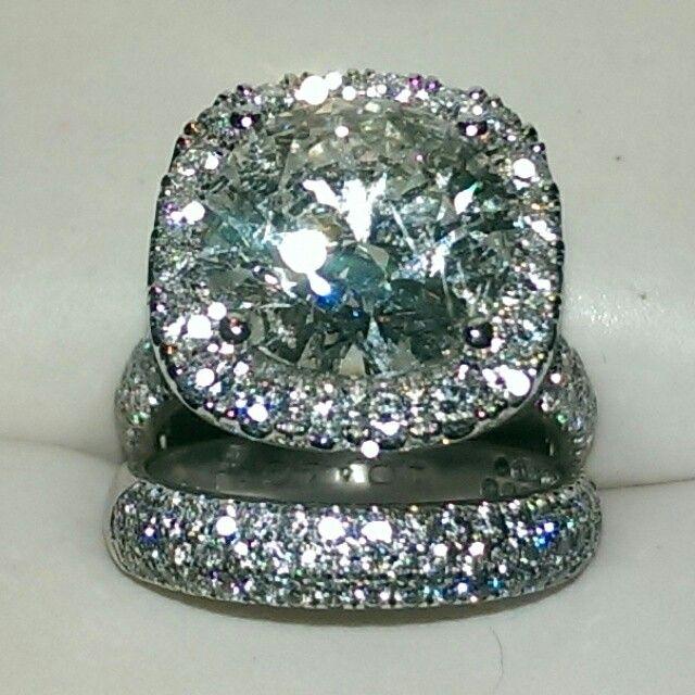 6.50 carat Coast diamond wedding set in 14k white gold